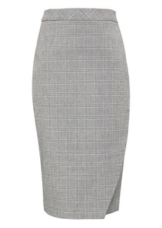 Banana Republic Plaid Bi-Stretch Wrap-Front Pencil Skirt