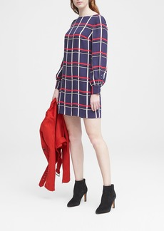 Banana Republic Plaid Covered Button Shift Dress