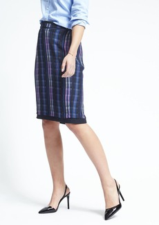Banana Republic Plaid Midi Pencil Skirt