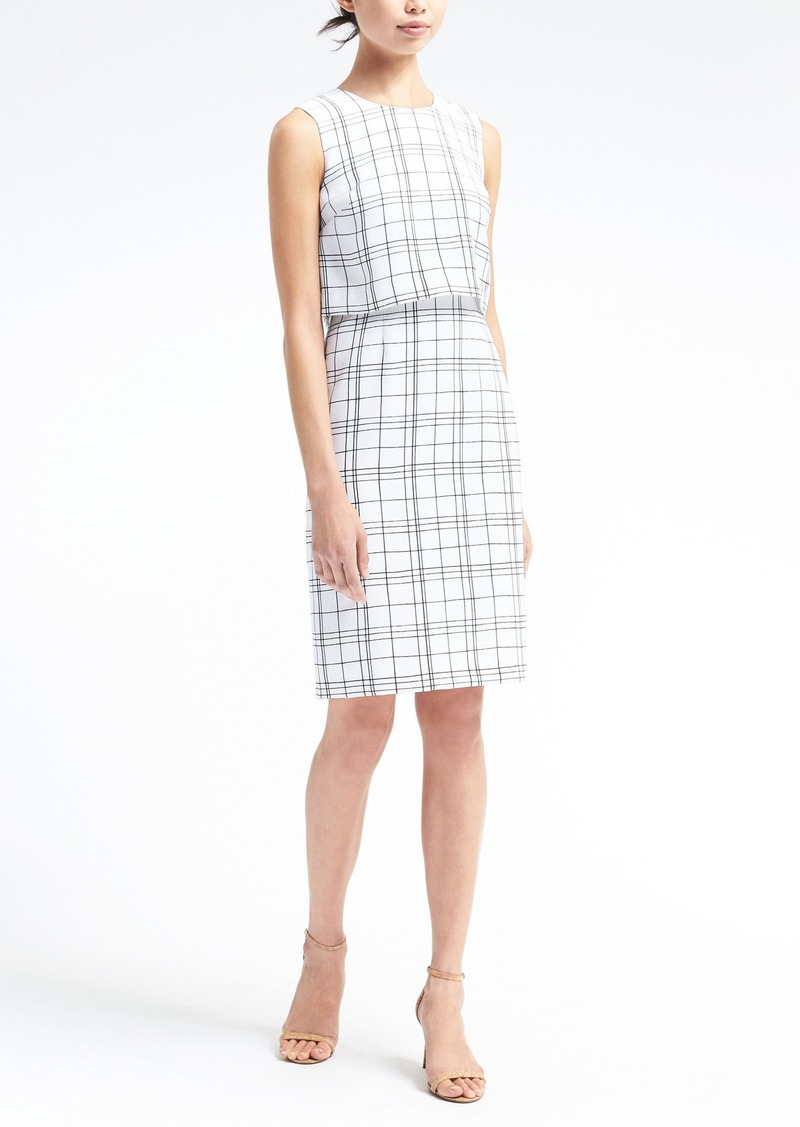 Banana Republic Plaid Tiered Sheath Dress
