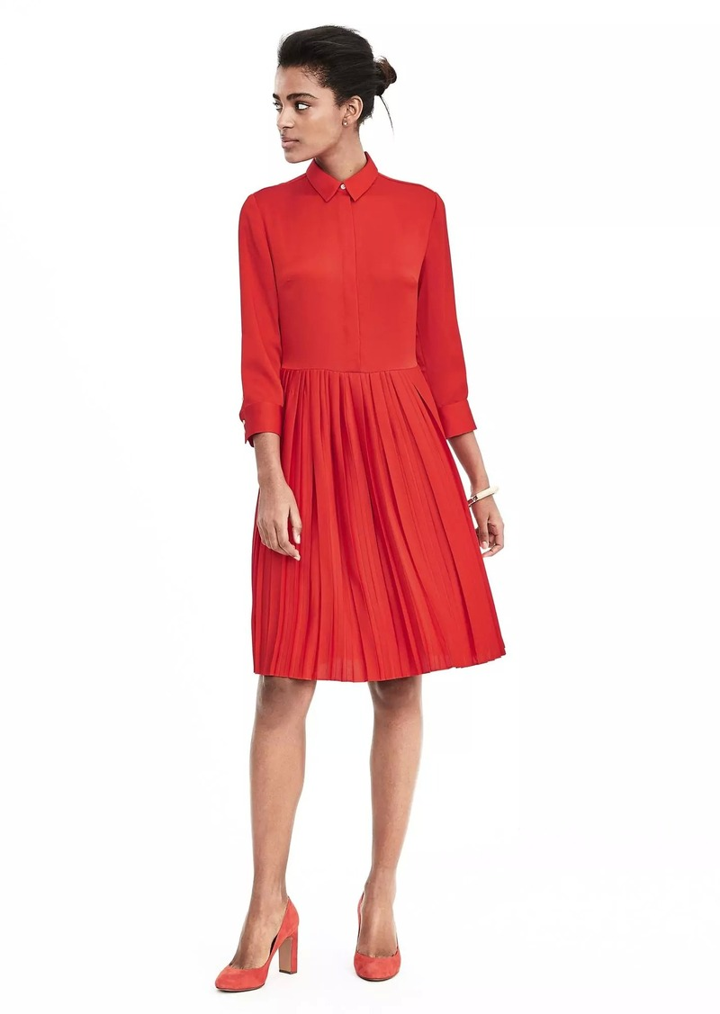 f4937227ccd Banana Republic Pleat-Skirt Shirtdress