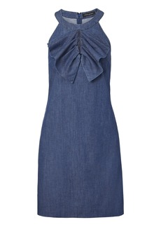 Banana Republic Pleated-Bow Denim Shift Dress