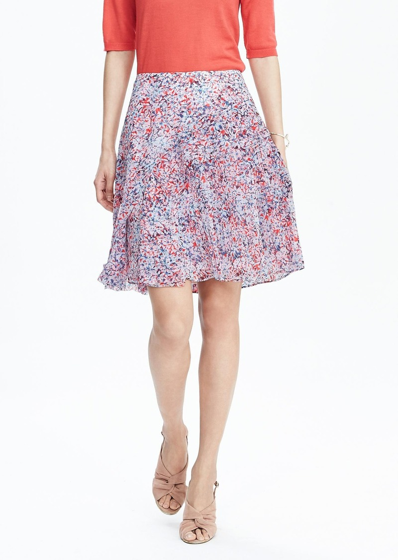 Banana Republic Pleated Floral Skirt