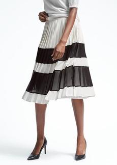 Banana Republic Pleated Gingham Midi Skirt