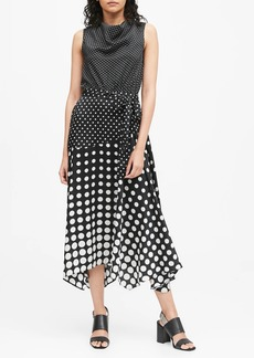 Banana Republic Polka Dot Cowl-Neck Midi Dress