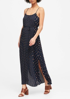 Banana Republic Polka Dot Pleated Maxi Dress