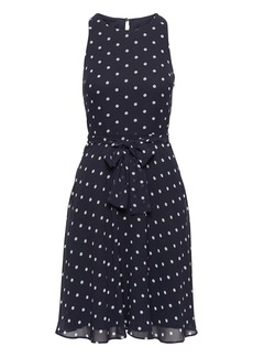 Banana Republic Polka Dot Racer-Neck Fit-and-Flare Dress
