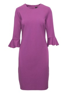 Ponte Flutter-Sleeve Sheath Dress