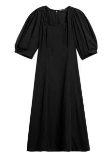 Banana Republic Poplin Puff-Sleeve Midi Dress
