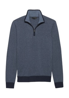 Banana Republic Premium Cotton Cashmere Birdseye Half-Zip Sweater