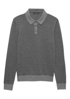 Banana Republic Premium Cotton Cashmere Birdseye Long-Sleeve Sweater Polo