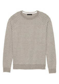 Banana Republic Premium Cotton Cashmere Stripe Crew-Neck Sweater