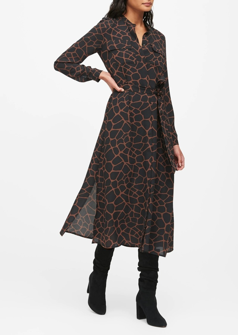Banana Republic Print Midi Shirt Dress