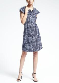 Print Pleat-Trim Fit-and-Flare Dress