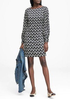 Banana Republic Print Poet-Sleeve Shift Dress