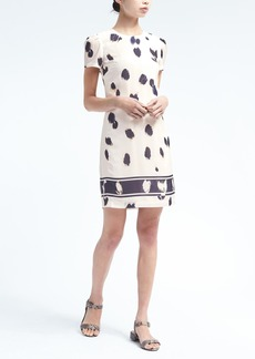 Print Rouched-Sleeve Shift Dress