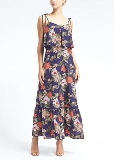 Print Ruffle-Hem Maxi Dress
