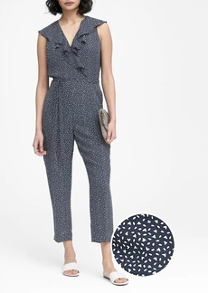 Banana Republic Print Ruffle V-Neck Cropped Jumpsuit