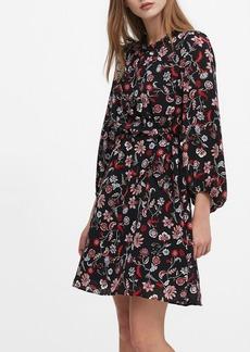Banana Republic Print Tie-Waist Mini Dress