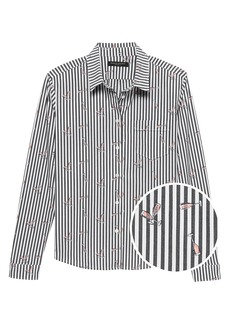 Banana Republic Quinn Fit Champagne Stripe Shirt