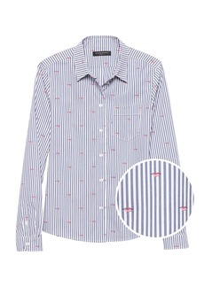 Banana Republic Quinn Straight-Fit Lip Print Shirt