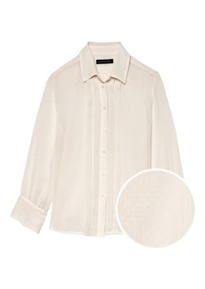 Banana Republic Quinn Boy-Fit Sheer Pleat-Front Shirt