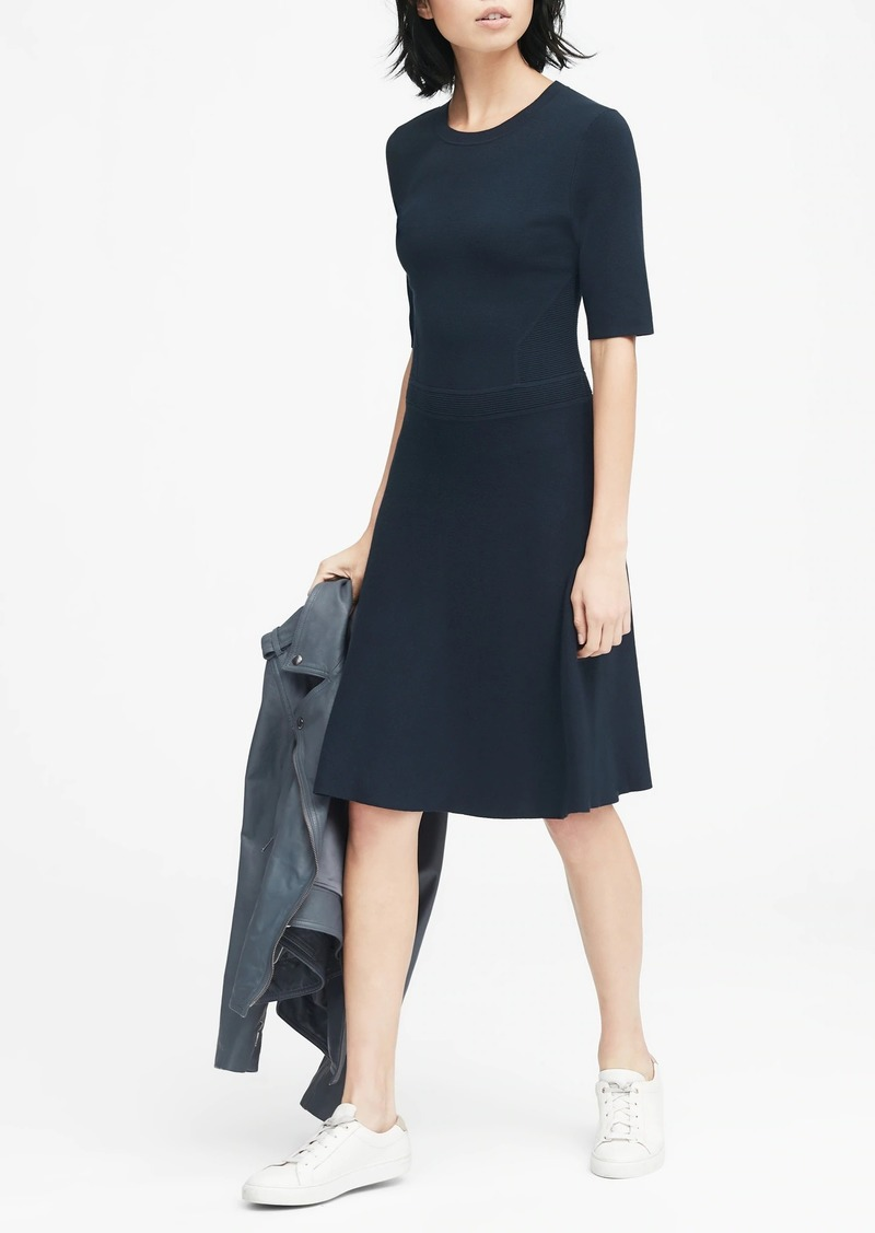 Banana Republic Ribbed-Knit Fit-and-Flare Sweater Dress