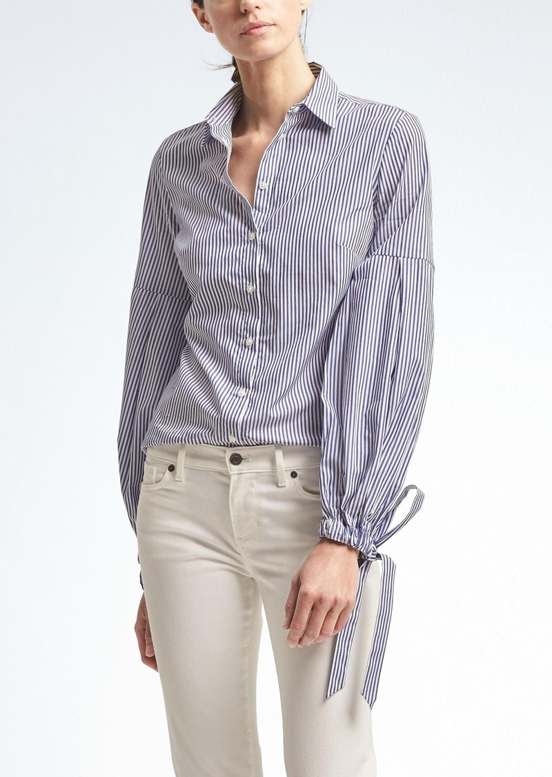Banana republic riley fit pleated bell sleeve shirt for Bell bottom sleeve shirt