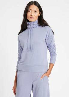Banana Republic Ruche-Neck Fleece Sweatshirt