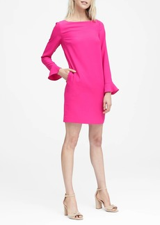 Banana Republic Ruffle-Cuff Button-Back Dress