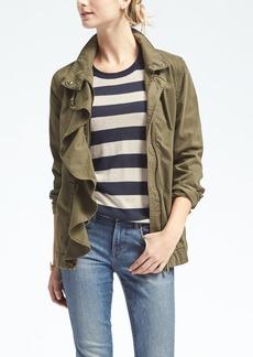 Ruffle-Front Military Jacket