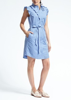Ruffle Neck Stripe Poplin Shirtdress