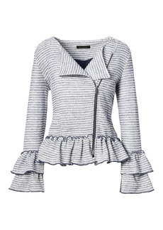 Ruffle-Sleeve Bouclé Jacket