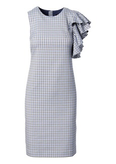Ruffled-Shoulder Sheath Dress
