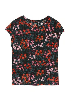 Banana Republic Floral Washable Silk Roll-Cuff Top