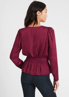 Banana Republic Satin Puff-Sleeve Blouse
