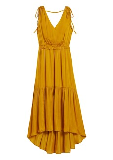 Banana Republic Satin Ruched Maxi Dress