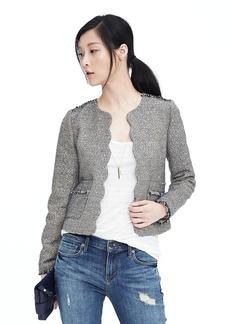 Scalloped Tweed Collarless Jacket