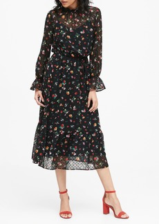 Banana Republic Sheer Clip-Dot Midi Dress