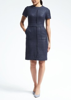 Short-Sleeve Frayed-Edge Tweed Dress