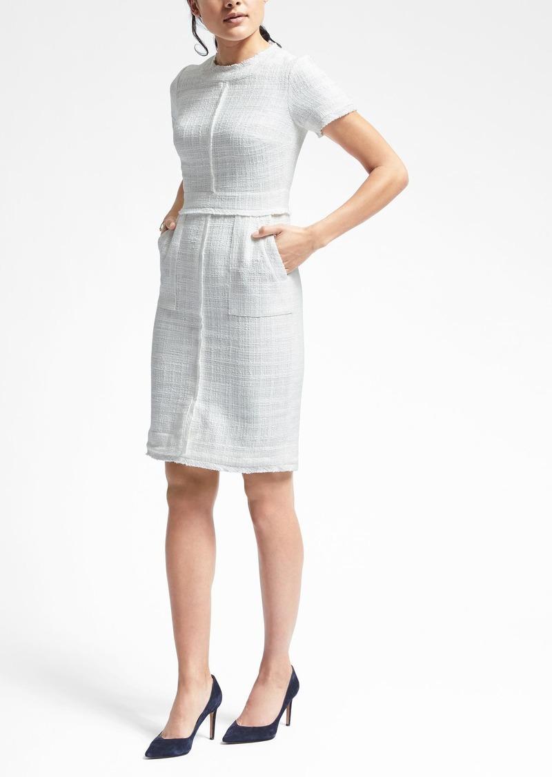 Banana Republic Short Sleeve Frayed Edge Tweed Dress