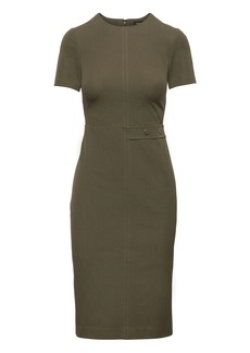 Side-Button Bi-Stretch Sheath Dress