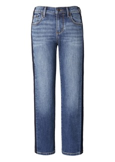 Girlfriend Side Stripe Medium Wash Cropped Jean