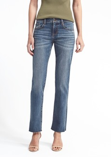 Girlfriend Medium Wash Jean with Fray Hem