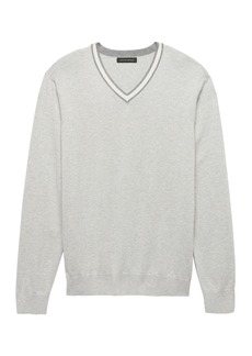 Banana Republic Silk Cotton Cashmere Varsity V-Neck Sweater
