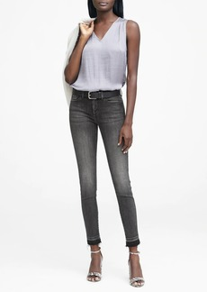 Banana Republic Skinny Black Jean with Frayed Hem