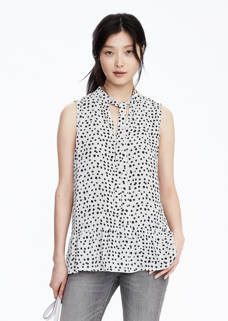 Banana Republic Sleeveless Print Tie-Neck Blouse