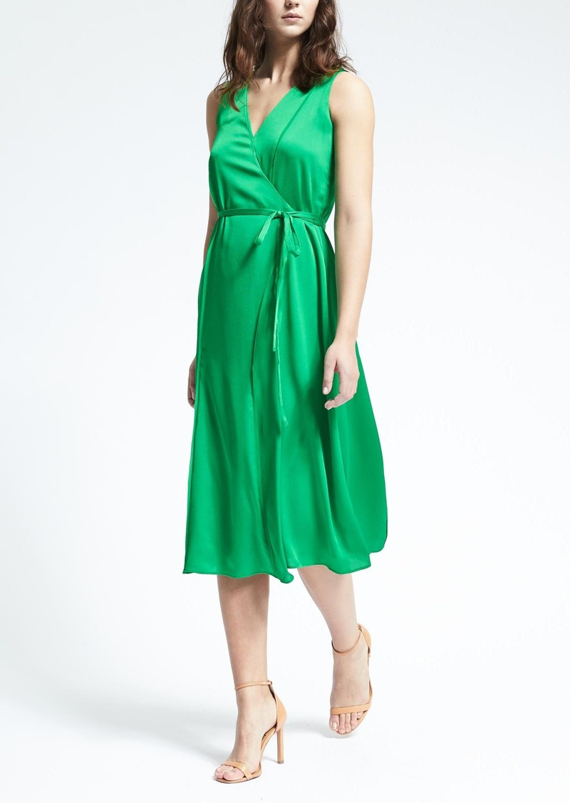 Banana Republic Sleeveless Vee Neck Wrap Dress