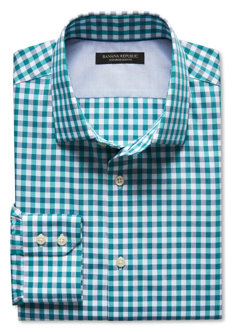 Sale banana republic slim fit non iron teal gingham shirt for Slim fit non iron shirts