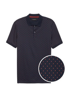 Banana Republic Slim Luxury-Touch Diamond Print Polo